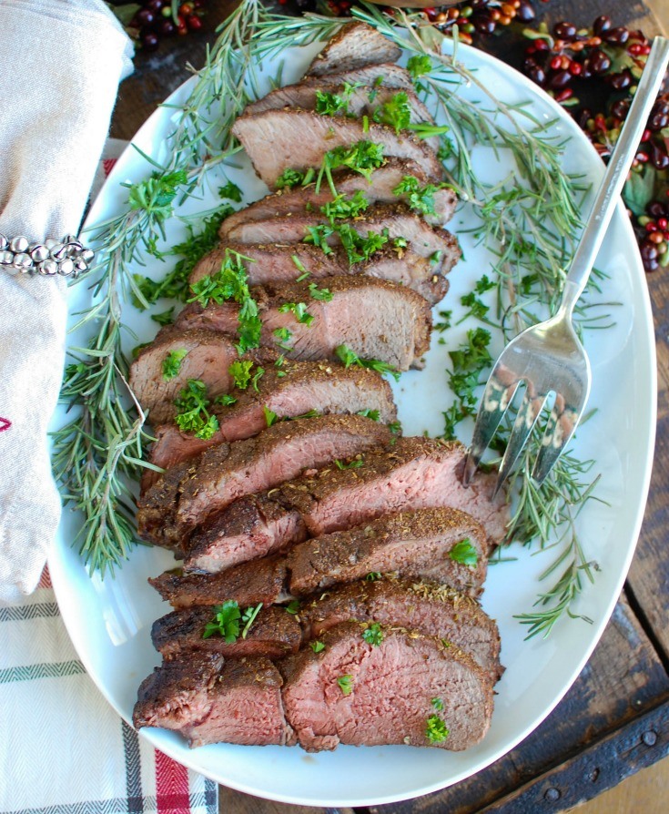 Mediterranean Crusted Sirloin Beef Roast is a flavorful, mouthwatering meal to serve at the holidays or for a get together. Roast and toast with your guests using the flavors of the Mediterranean paired with a juicy, tender top sirloin roast.