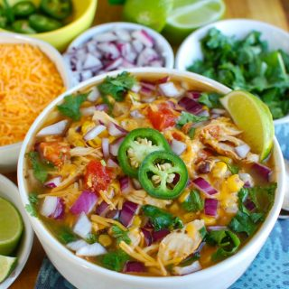 Instant Pot Chicken Tortilla Soup with garnishes