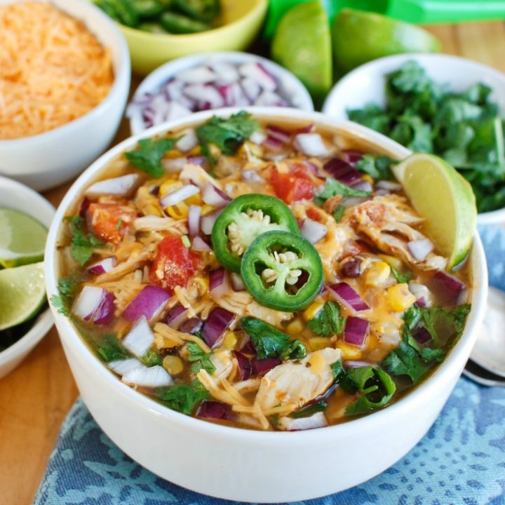 Instant Pot Chicken Tortilla Soup in White Bowl