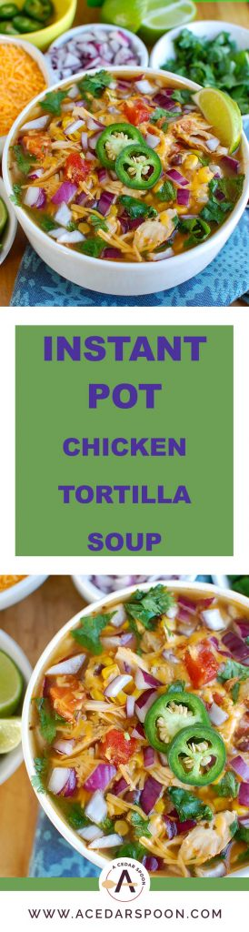 Instant Pot Chicken Tortilla Soup is a zesty soup that will compliment your next taco night or makes a meal on its own. Tender chicken, black beans, corn, diced tomatoes and Mexican spices come together nicely in a hearty, healthy soup.
