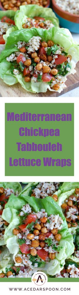 Mediterranean Sorghum Tabbouleh and Chickpea Lettuce Wraps create a light, healthy meal using the flavors of Lebanon. A Sorghum Quinoa Brown Rice blend is combined with Tabbouleh and placed in a lettuce wrap with roasted chickpeas.