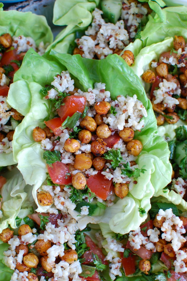 Mediterranean Sorghum Tabbouleh and Chickpea Lettuce Wraps create a light, healthy meal using the flavors of Lebanon. A Sorghum Quinoa Brown Rice blend is combined with Tabbouleh and placed in a lettuce wrap withroasted chickpeas.