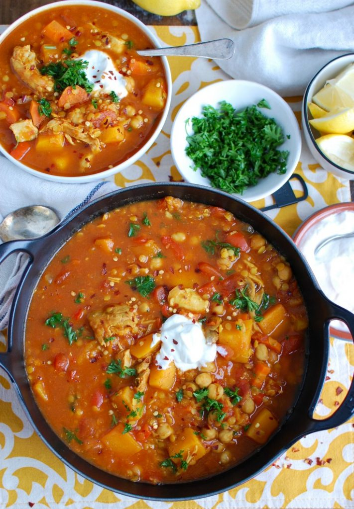 Slow Cooker Moroccan Chicken Chickpea Soup brings together the warm rich spices of Morocco into a hearty, healthy soup packed with protein. This soup brings together red lentils that are simmered in vegetable broth along with tender chicken thighs, chickpeas, vegetables and rich spices.