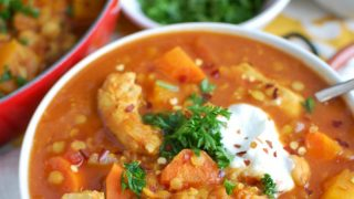 Slow Cooker Moroccan Chicken Chickpea Soup