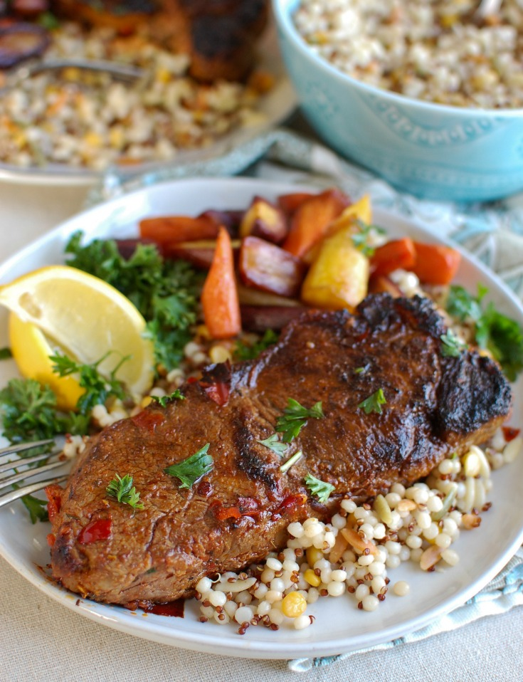 Pan Seared Harissa New York Strip Steak will spice up your next date night or family meal. Juicy, flavorful New York strip steaks are marinaded with harissa paste, spices and garlic and pan seared to perfection. Pair this with a side of your favorite roasted vegetable and couscous.