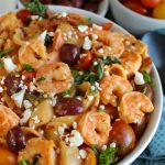 One Pot Mediterranean Shrimp Pasta {with Lactose-Free Cream Sauce}