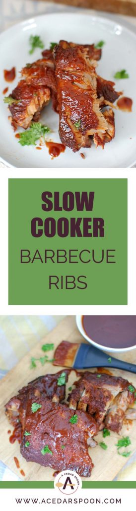 Slow Cooker Barbecue Ribs are fall off the bone tender and full of warm spices and flavor. These ribs cook in a slow cooker saving you time and making this meal easy and perfect for a crowd!
