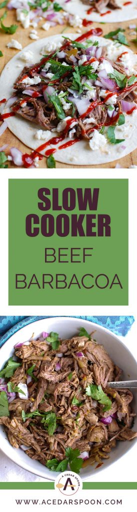 Juicy, tender and flavor packed Slow Cooker Beef Barbacoa makes the perfect pairing for rice bowls, filling for tacos or quesadillas or a topping for a salad. Beef is cooking in warm, rich sauce made using chipotle chilis, diced chilis, cumin, Mexican oregano, cinnamon, cloves and lime juice creating delicious shredded beef.