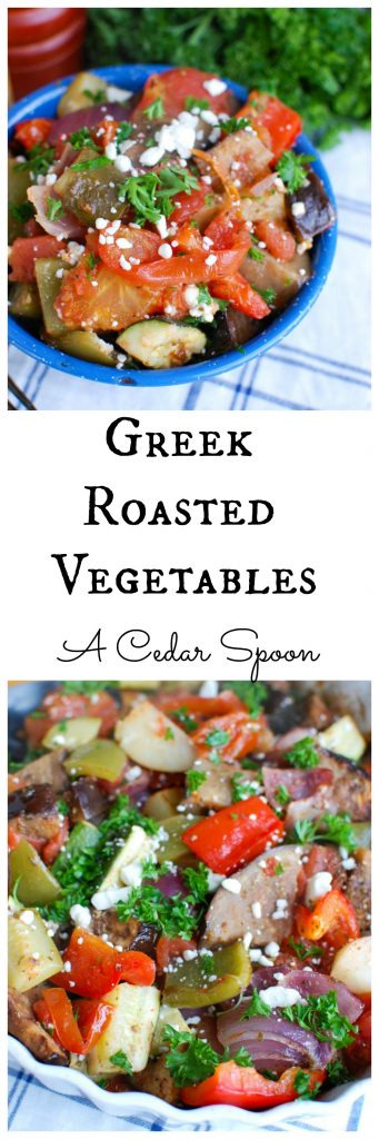 Greek Roasted Vegetables {Briami} are tender, flavorful vegetables that areroasted in a tomato based sauce and topped with fresh parsley and feta cheese. These vegetables work great over rice, paired with pasta or as a side dish to your meal.