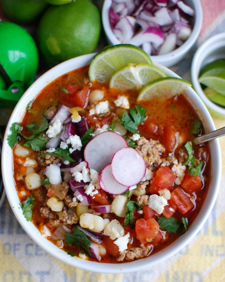 Slow Cooker Pork Posole is an easy soup boasting warm, rich flavor. The ground pork, hominy and fire roasted tomatoes are the start of this meal. You will love this soup to warm you on a cold day.