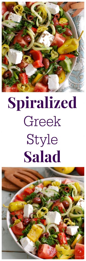 Spiralized Greek Style Salad will help you escape to the islands of Greece with fresh Greek flavors. Spiralized cucumbers and zucchini add a fun twist to a classic Greek salad paired with creamy feta and topped with a light dressing.