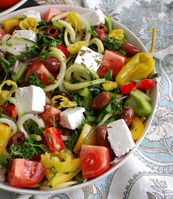 Spiralized Greek Style Salad white bowl