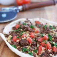 Spiced Beef and Hummus Pita Pizza