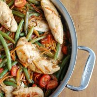 One Pot Honey Balsamic Chicken and Vegetables in pot