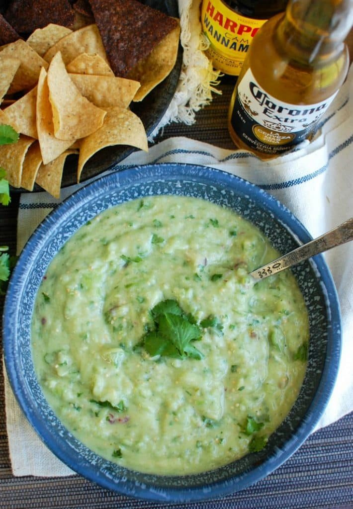 Avocado Tomatillo Salsa with beer