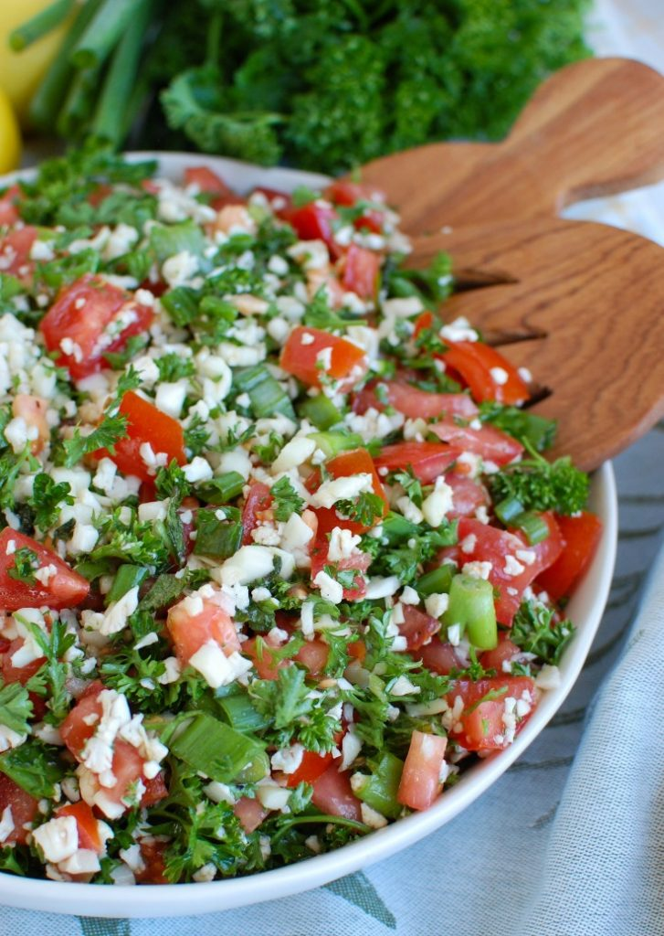 Cauliflower Tabbouleh with wooden spoon