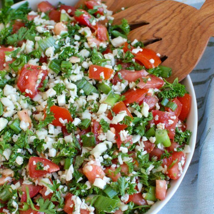 Cauliflower Tabbouleh White Bowl