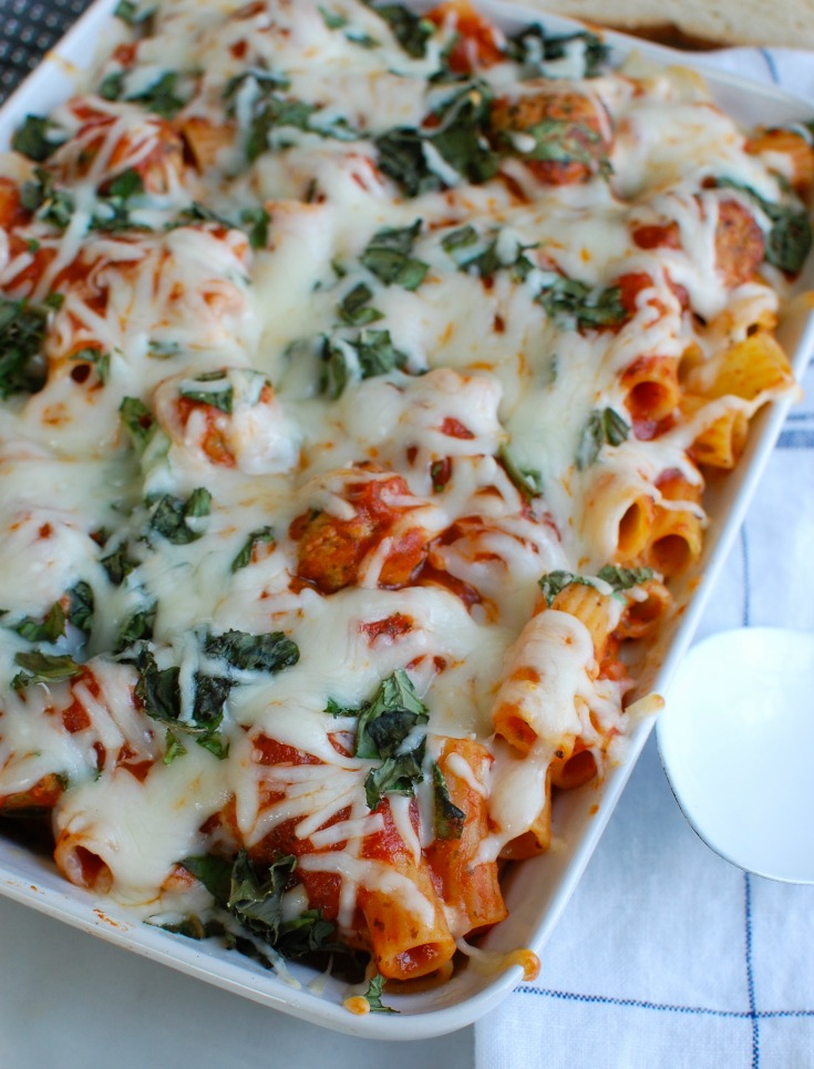 Easy Baked Rigatoni with Chicken Meatballs comes together in under 30 minutes and is a family favorite. This recipes uses five ingredients and is a comforting, rich Italian style baked rigatoni featuring lean, flavorful chicken meatballs.