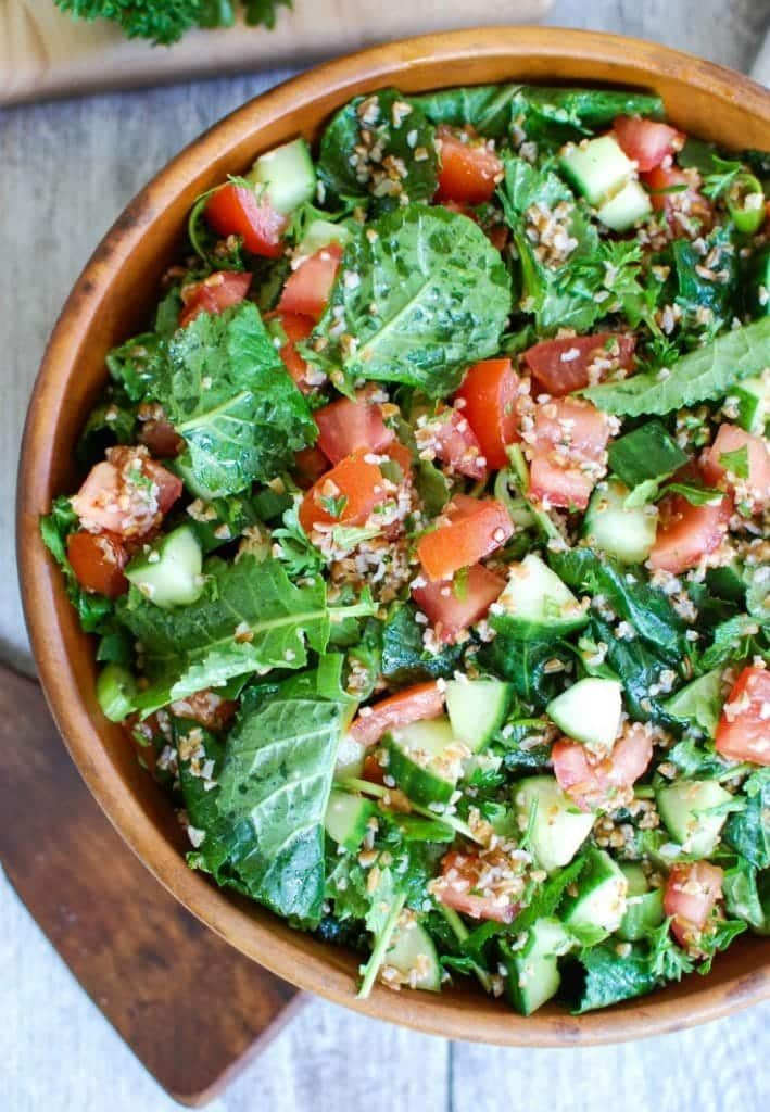 Kale Cucumber Tabbouleh  in wood bowl
