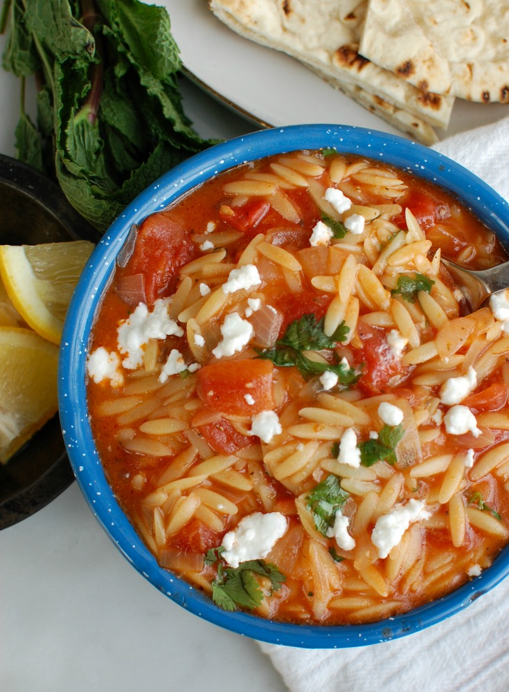 One Pot Creamy Tomato Herb Orzo Side View