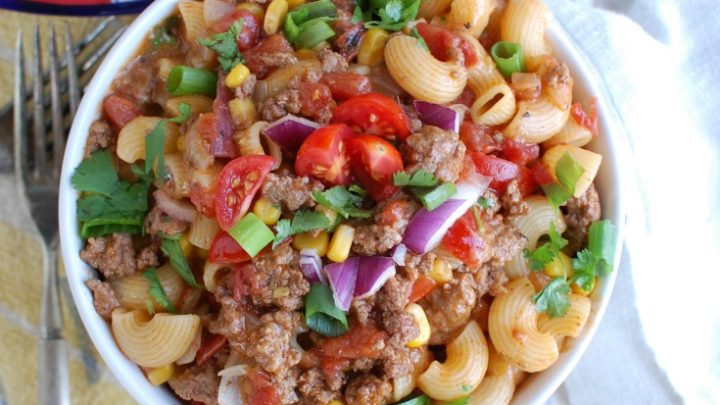 One Skillet Beef Taco Pasta
