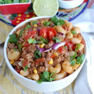 One Skillet Beef Taco Pasta in a bowl