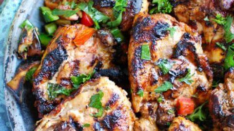 Shish Taouk Chicken Thighs with Garlic Yogurt Sauce