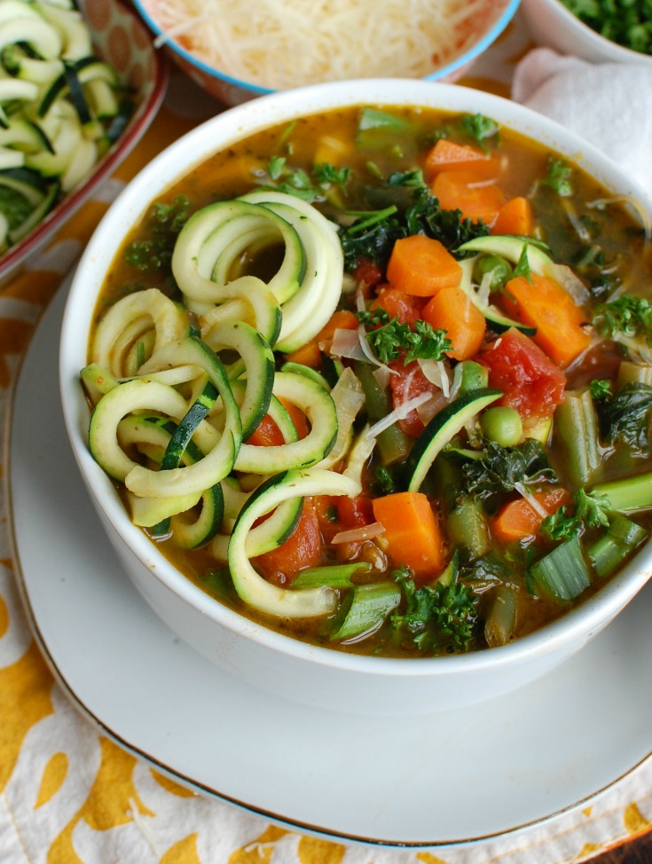 Spring Vegetable Minestrone in Bowl Side