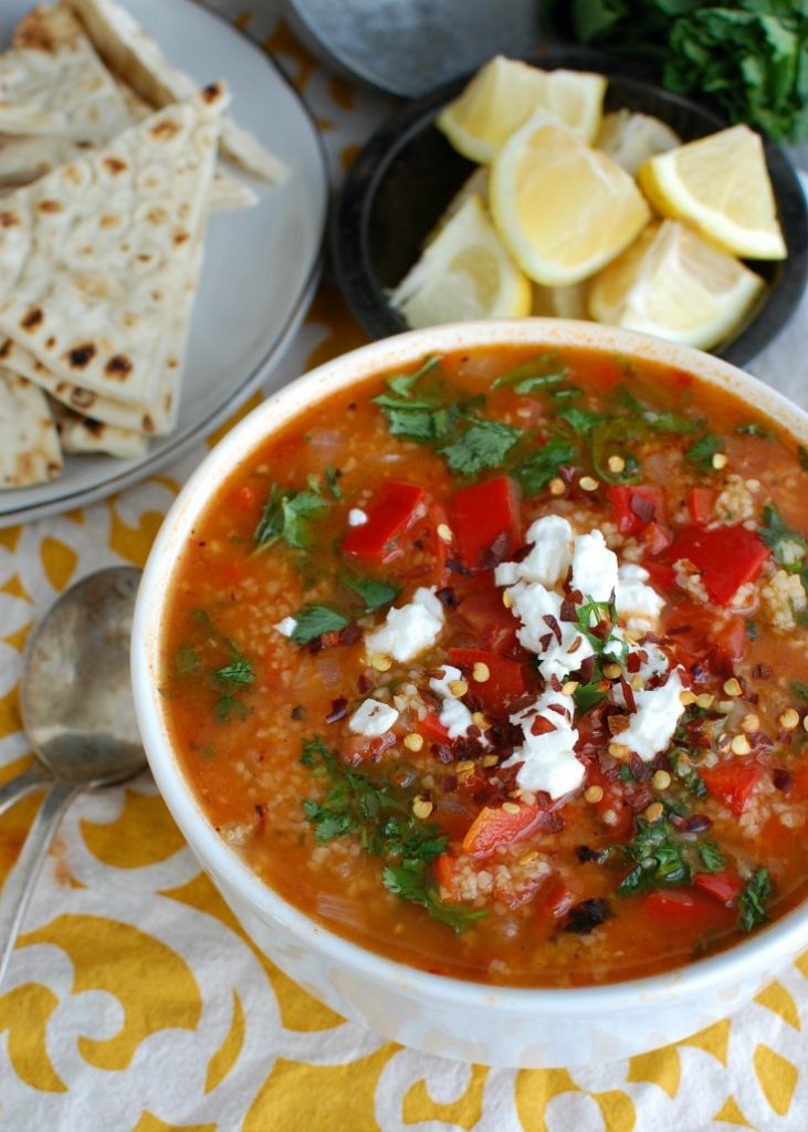 Tomato Red Pepper Bulgur Soup is a vegan soup that boasts smoky and sweet flavors. This soup is hearty, healthy and will make your taste buds happy. You can easily bulk this soup up with chickpeas, white beans or grilled chicken.