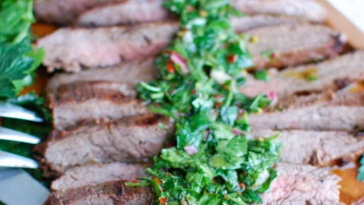 Easy Grilled Flank Steak with Chimichurri Sauce Cutting Board