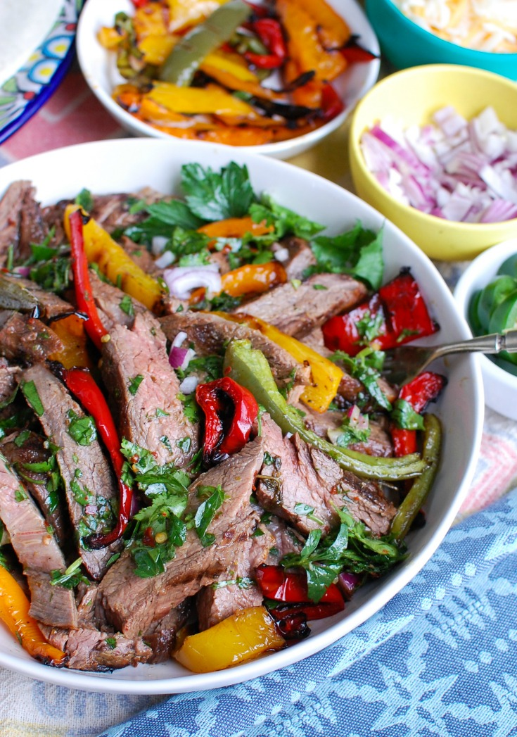 Easy Grilled Flank Steak with Chimichurri Sauce Side View
