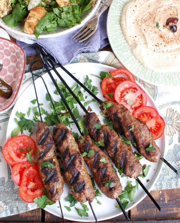 Grilled Beef Kafta Kebabs above