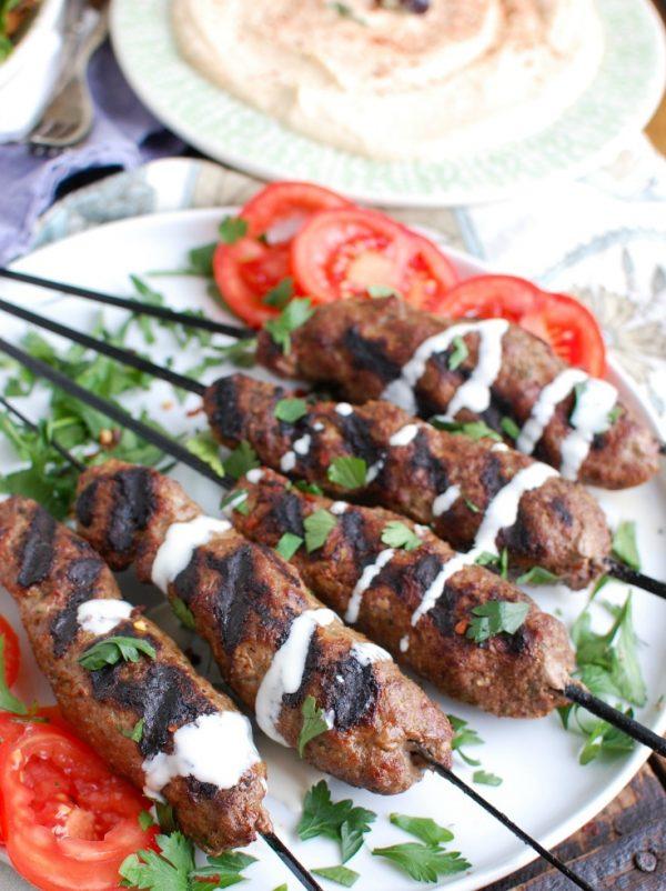Grilled Beef Kafta Kebabs Close Up