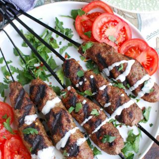 Grilled Beef Kafta Kebabs with tomato