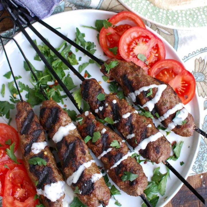 Grilled Beef Kafta Kebabs after grilling