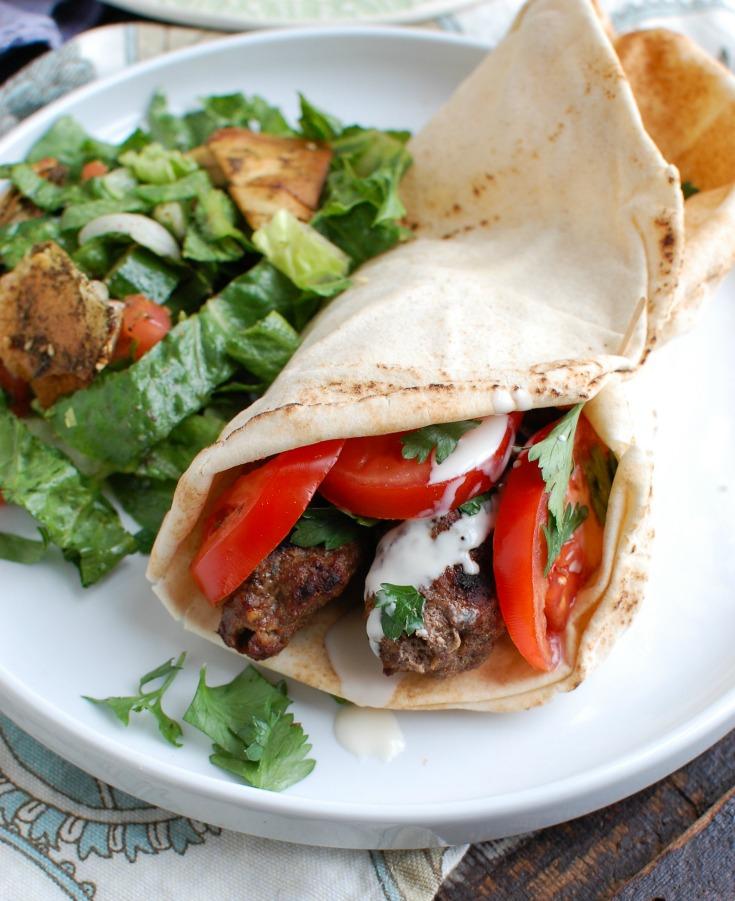 Grilled Beef Kafta Kebabs Pita Sandwich