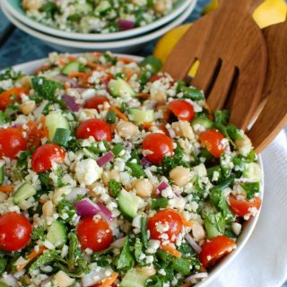 Mediterranean Chickpea Cauliflower Salad Side View