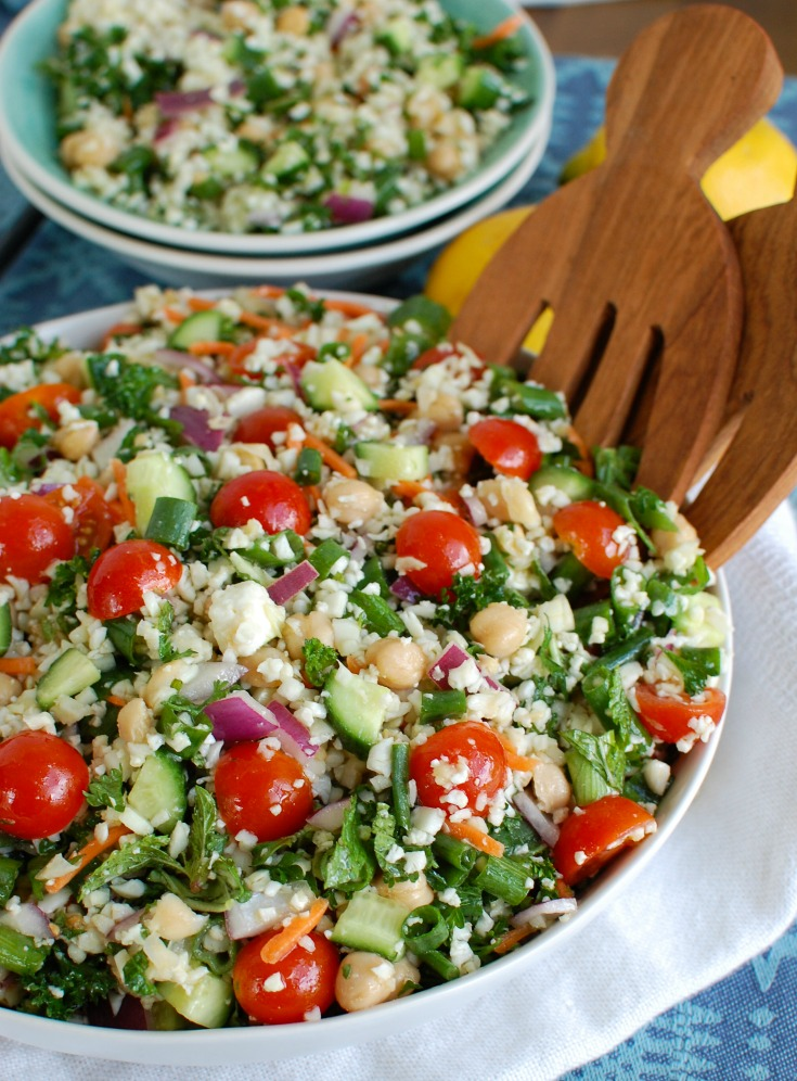 Mediterranean Chickpea Cauliflower Salad Side View