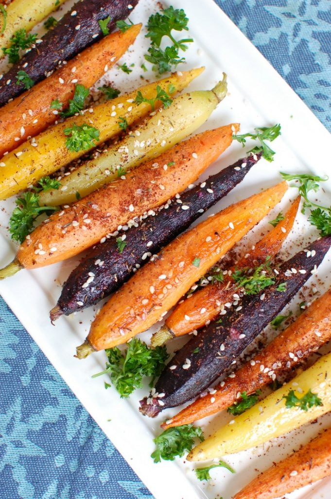 Za'atar Roasted Carrots up close