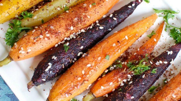 Za'atar Roasted Carrots up close