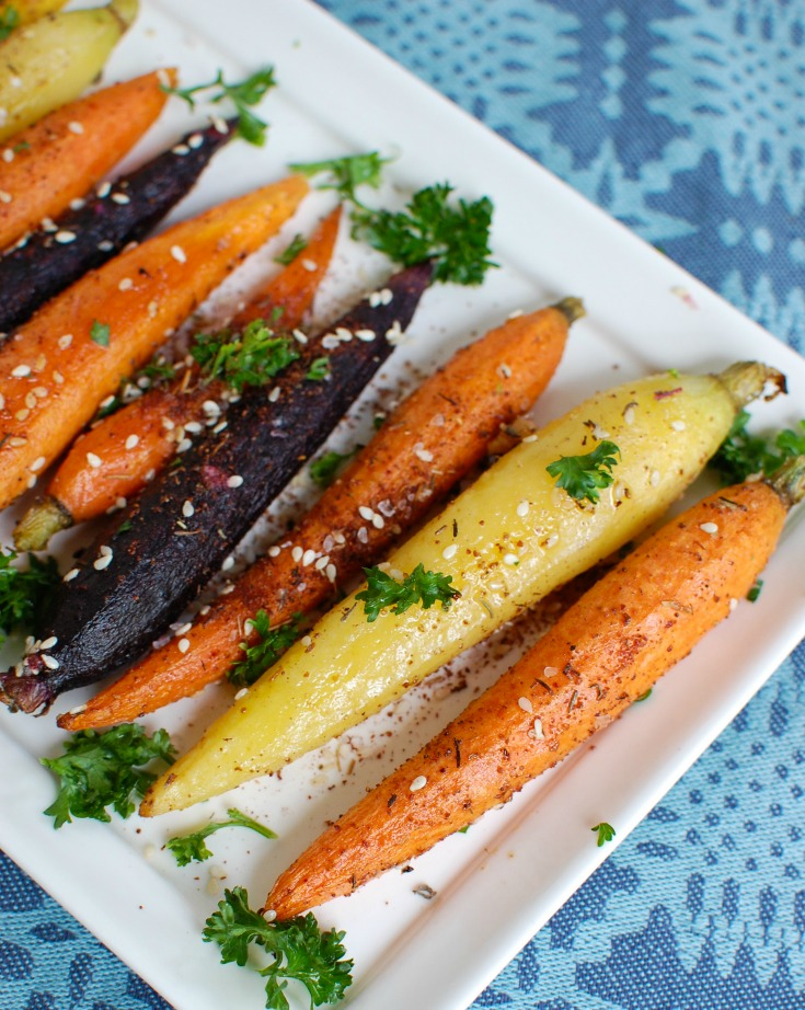 Za'atar Roasted Carrots on white plate
