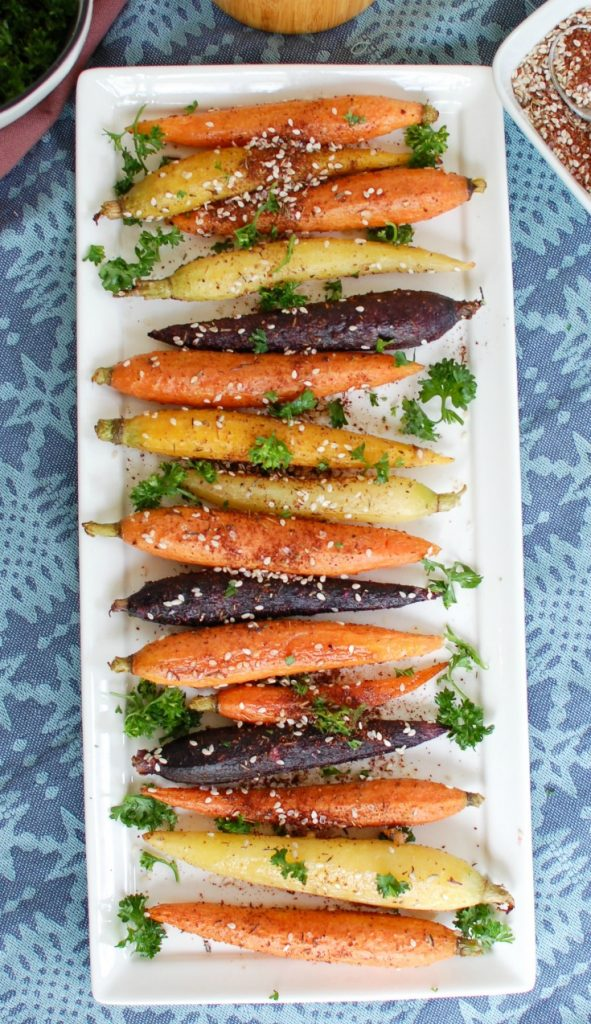 Za'atar Roasted Carrots in a row
