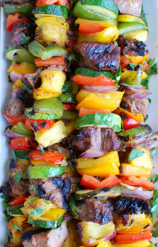 Grilled Hawaiian Steak Kabobs Up Close