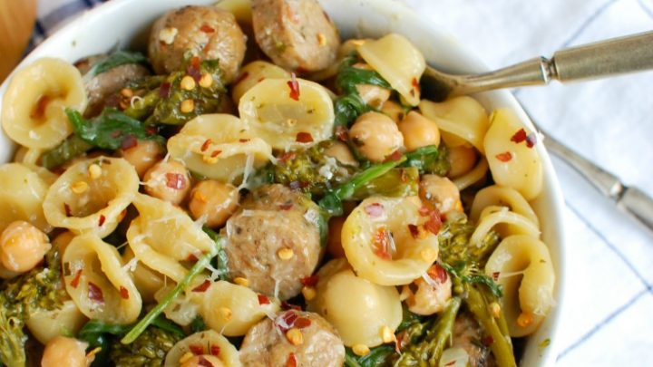 One Pot Orecchiette with Sausage and Broccoli