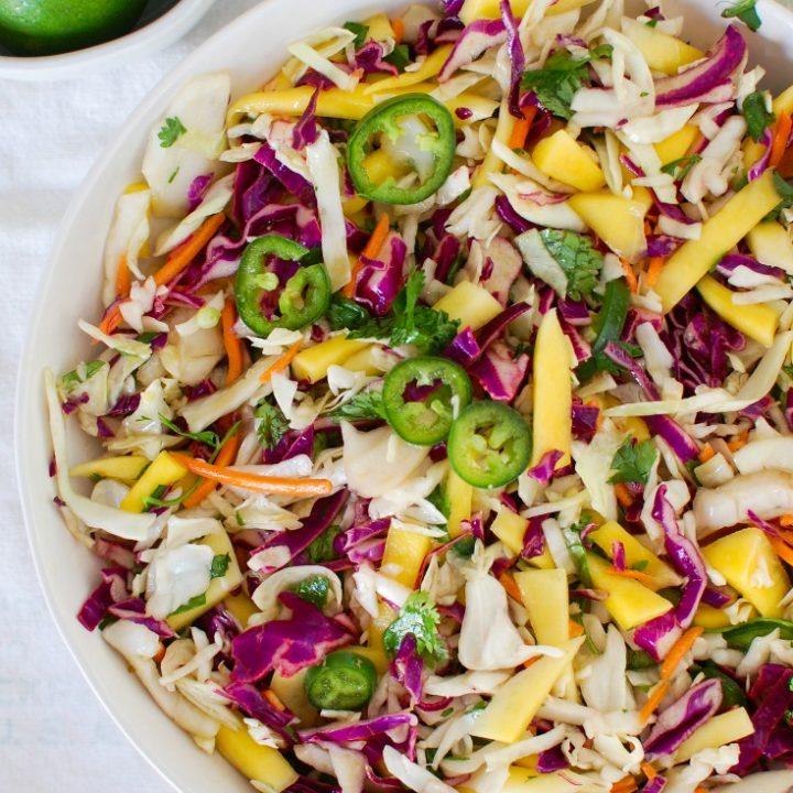 Easy Mango Cabbage Coleslaw Above