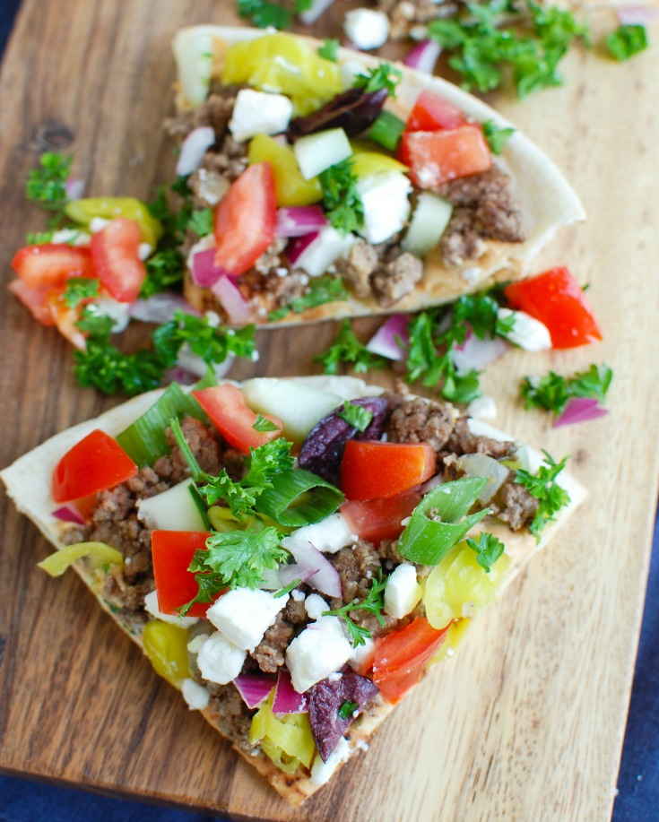Greek Beef Pita Pizza Wedges