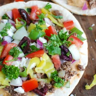 Greek Beef Pita Pizza Up Close