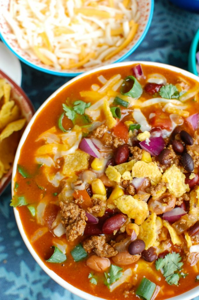 Instant Pot Taco Soup with cilantro