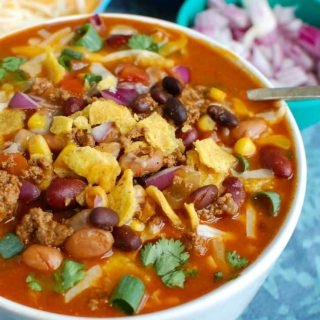 Instant Pot Beef Taco Soup Side View