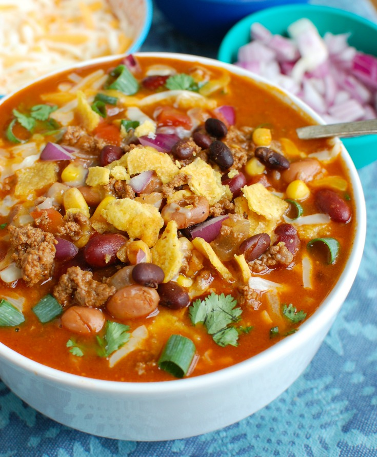 Instant Pot Taco Soup in white bowl